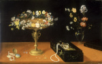Still Life of Flowers Gilt Tazza and Jewels in Lacquer Box
