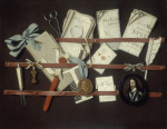Trompe L'Oeil with a Letter Rack and a Miniature of Charles I by Edward Collier