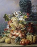 Still Life of Flowers and Fruits 1864