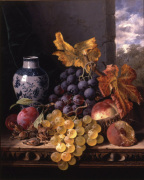 Still Life with Grapes Plums Cobnuts Peaches
