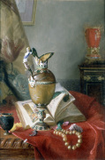 A Still Life with Urns and Illuminated Manuscript