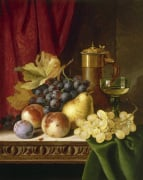 Still Life with Grapes Peaches Wine Goblet and Covered Flask