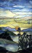 Stained Glass Window with Iris and Sunset c.1900