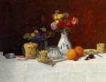 Still Life with Flowers Oranges and Coffee Cups 1891