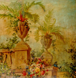 Still Life with Flowers and Tropical Plants on a Balustrade I