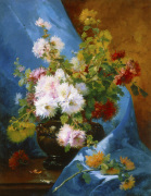 Still Life of Flowers with Blue Drapery