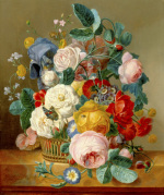 A Still Life of Flowers in a Basket on a Ledge