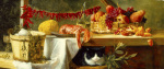 Still Life with Peppers Fruit a Lobster and a Cat