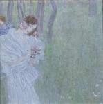Madchen mit Blumen in der Hand am Rand Eines Waldes c.1897