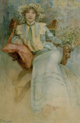 Mistletoe: Portrait of Mme. Mucha 1903