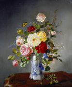 Still Life with Roses and Wildflowers in a Chinese Vase