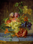 Grapes Peaches Plums and Nasturtiums in an Ornate Bowl