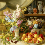 Still Life with Flower Vases, Bird Cage, Strawberry Pots by Leopold van Stoll