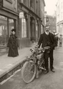 Hugh Gibson with Bradbury motorcycle c.1910
