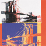 Brooklyn Bridge, 1983 (black bridge, white background) by Andy Warhol