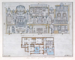 Cross-section through and plan of Sir John Soane's Museum 1827