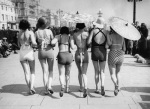 Women promenading in swimsuits 1935