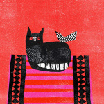 Black Cat, Red Mat by Madeleine McClellan