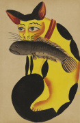 Cat with a fish in its mouth c.1890