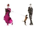 What to Wear When Walking the Dogs - Him & Her (Pink Dress & Bow)