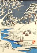 Garden scene in snow