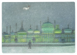 The Boy and The Snowman flying above a green-tinged Brighton Pavilion