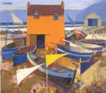 Boats and Marker Flags by George Birrell