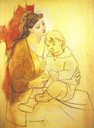 Mother and Child Before Curtain