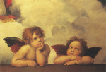 Cherubs (Detail from Sistine Madonna) (small) by Raphael