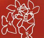 Fleurs blanches sur fond rouge (Silkscreen print)