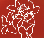 Fleurs blanches sur fond rouge (Silkscreen print) by Nicolas Le Beuan Benic