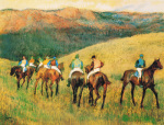 Racehorses in a Landscape by Edgar Degas
