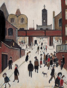 Street Scene with Viaduct by L S Lowry