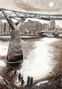 London Bridges & the Gherkin - Millenium Bridge by Mark Raggett