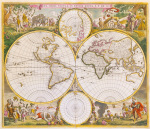 Nova Orbis Tabula in Lucem Edita c1670 by De Witt