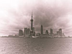 Shanghai Skyline, Sepia by Assaf Frank