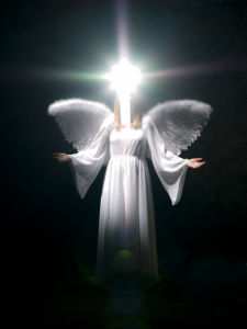 Angel on black background by Assaf Frank
