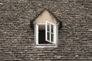 Window in a slate roof by Assaf Frank
