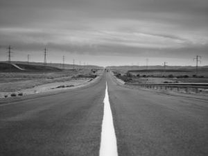 Empty road, Israel, middle east (B&W) by Assaf Frank