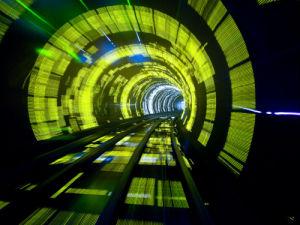 China, Shanghai, The Bund, Bund sightseeing tunnel (blurred motion) by Assaf Frank