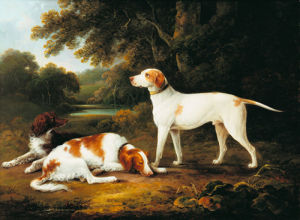 A Pointer and Two Spaniels in a Park by Charles Henry Schwanfelder