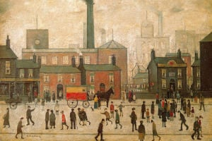 Coming Home from the Mill by L S Lowry