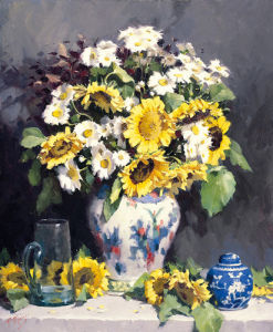 Sunflowers and Cosmos by Pat Moran