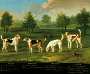 Two couples of hounds in a park by James Roberts