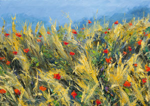 Wind-blown poppies by Gordon Breckenridge