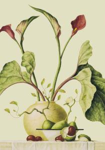 Red lilies and conkers by Ruud Verkerk