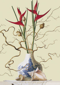 Still life with chinese vase, shells by Ruud Verkerk