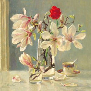 Magnolia and red tulip by Valeriy Chuikov