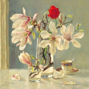 Magnolia and red tulip by Valeriy Chuikov