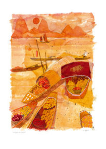 Sampans at sunset by Liz Myhill